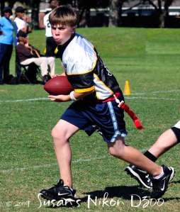 #2 son on the run during flag football