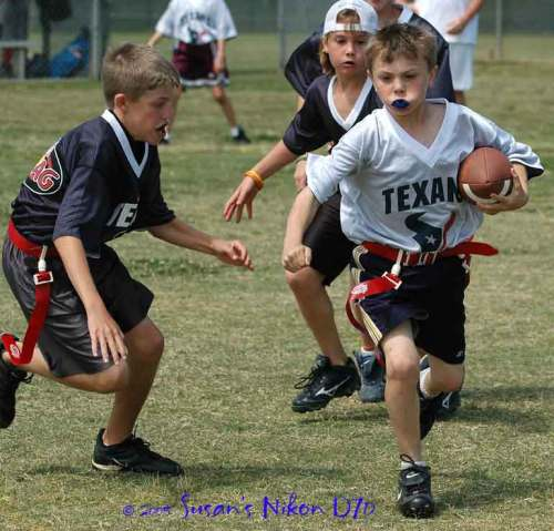 #2 shows off his flag football moves four years ago.