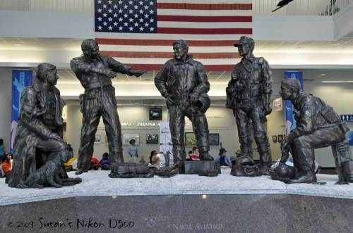 From left, the statues represent aviators from World War I, World War II, Korea, Vietnam, and Desert Storm.
