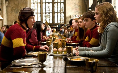 Ginny, Harry, Hermoine, and Ron before a quidditch match