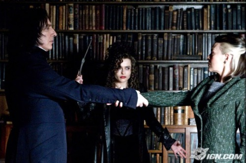 Severus Snape and Narcissa Malfoy utter the Unbreakable Vow in front of the horribly sadistic Bellatrix Lestrange.