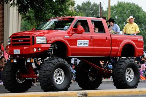 Because this is Texas, we've got lots of big trucks around. Even in parades!