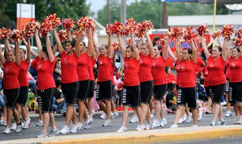 Our Angels dance team march ahead of our band.