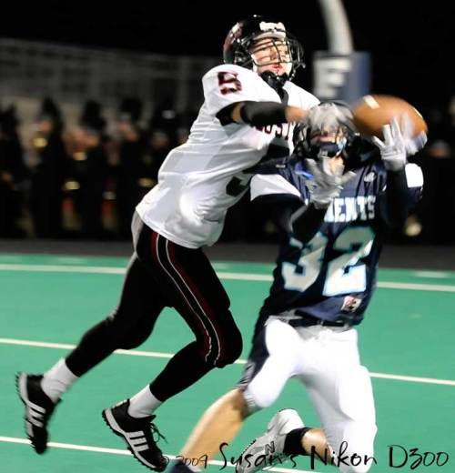 Tyler knocks away the pass.