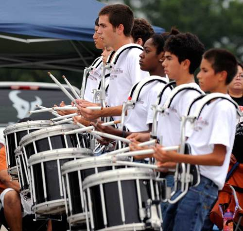 The drumline never stops playing!