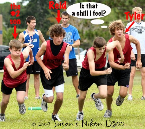 The freshmen start Friday's 2K cross-country race.