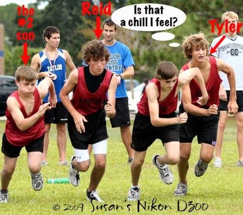 The freshmen start Friday's 2K cross-country race.