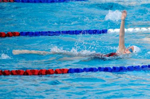 Emily powers through the backstroke during the individual medley.