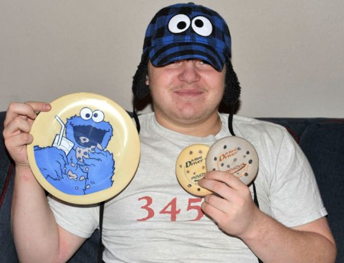 My #2 son poses with his Cookie Monster goodies.
