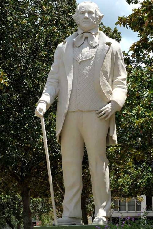 Sam Houston watches over his campus.