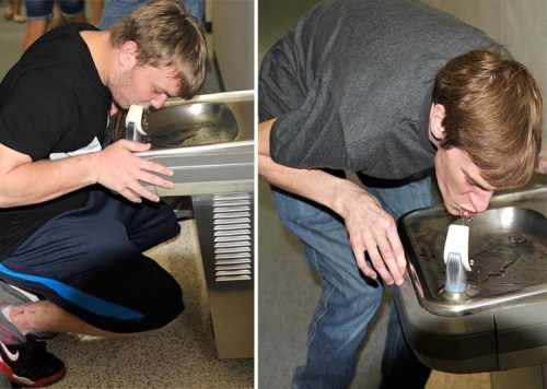 My younger son and Chase found out how small the drinking fountains are.