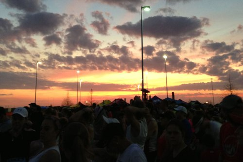 Our standard beautiful Texas sunrise illuminates the race start.