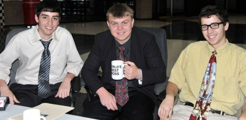 Jared, the kid, and Ricky show their Office alter egos.