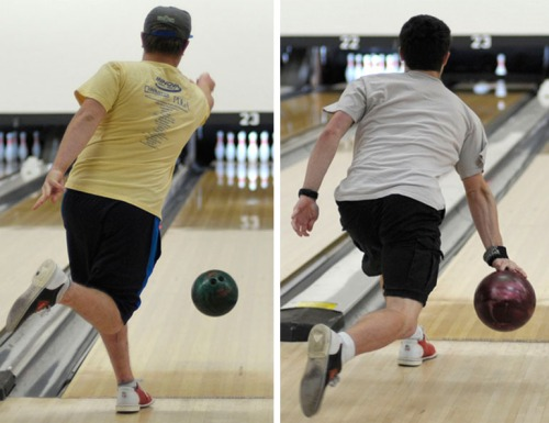 The brothers show their different bowling styles.