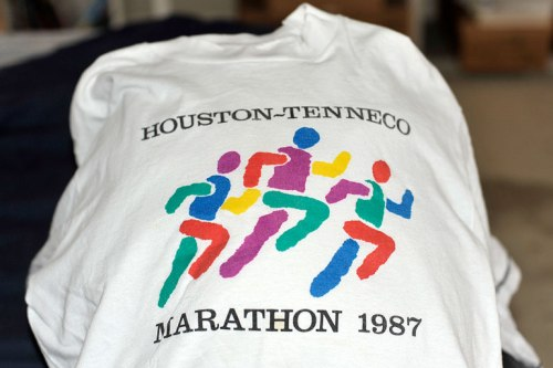 My first Houston Marathon shirt (there were no finishers' shirts back then)