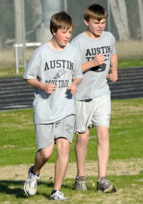 Cooling down after track practice freshman year