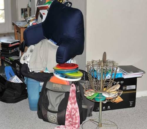 Lots of stuff is waiting to be packed.