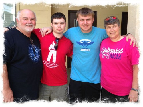 Our last photo together for awhile was taken last Saturday after moving my younger son in at SHSU.
