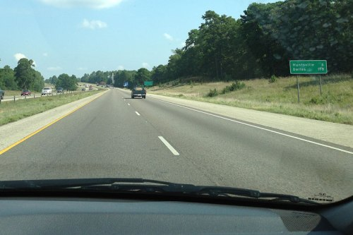 Almost to Huntsville; you can see the big Sam Houston statue up the road.