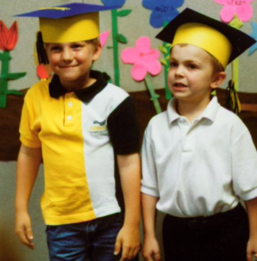 Kindergarten graduation: Tyler and the kid