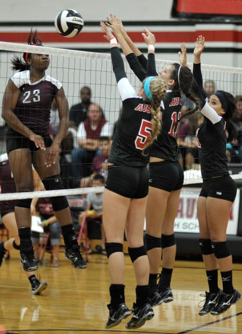 An in-your-face block by Erin, Madison, and Erica