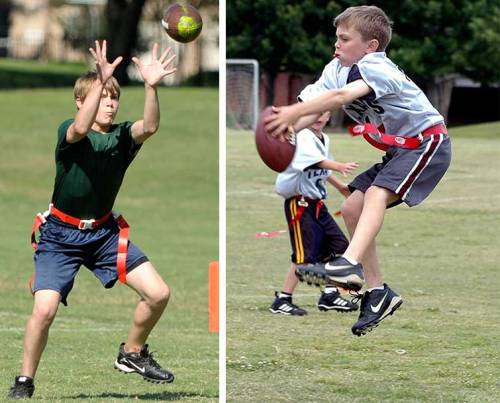 The kid catches the football in 2009 (left) and 2005.