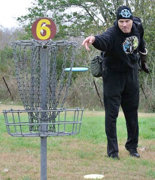 The disc saw Steve's mean face and knew it had to be in the basket.