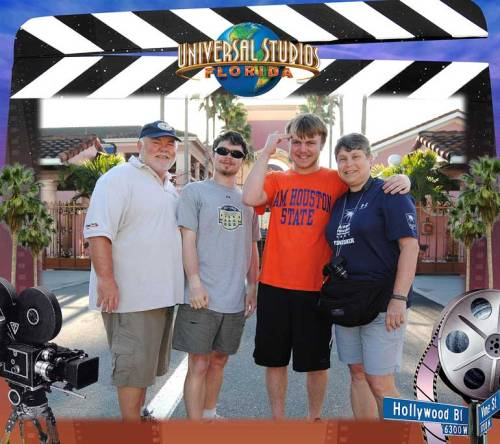 We posed for an official photo at Universal Studios during spring break.
