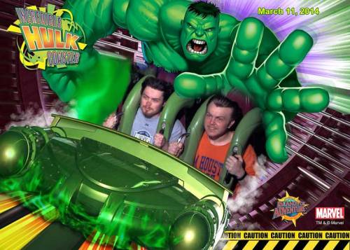 The boys' hair is windswept as they ride the Incredible Hulk roller coaster.