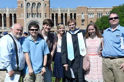 The Mister, Jake, Josh, real mom Cindy, girlfriend Claire, and real dad Charles surround Chase after he graduated from Rice University last Saturday.