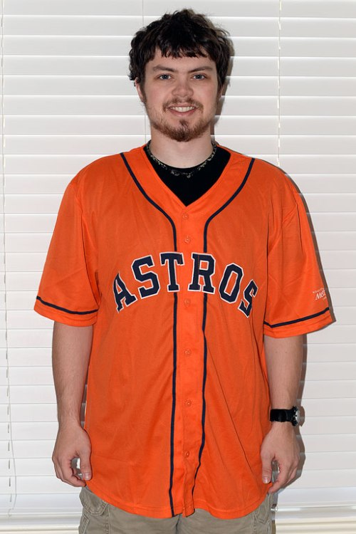 Jake rocks a giveaway Houston Astros José Altuve jersey last Sunday.