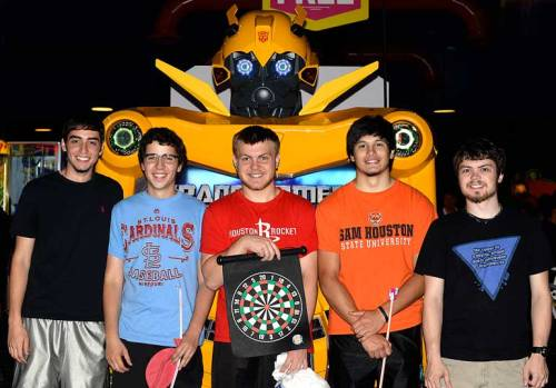 Jared, Ricky, C.J., RJ, and Jake pose with Bumblebee.